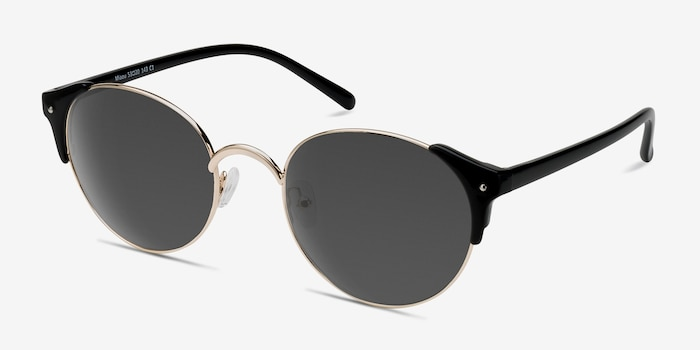 Miaou Golden Black Metal Sunglass Frames from EyeBuyDirect, Angle View