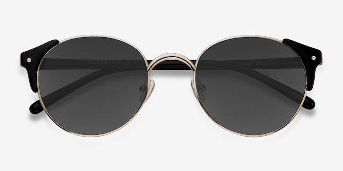 Miaou Golden Black Metal Sunglass Frames from EyeBuyDirect, Closed View