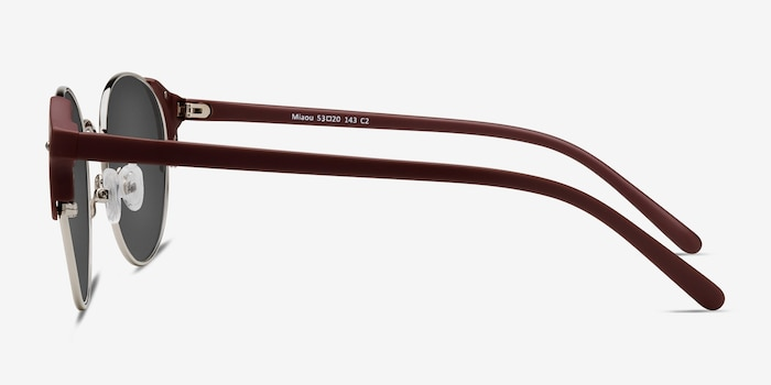 Miaou Silver Burgundy Metal Sunglass Frames from EyeBuyDirect, Side View