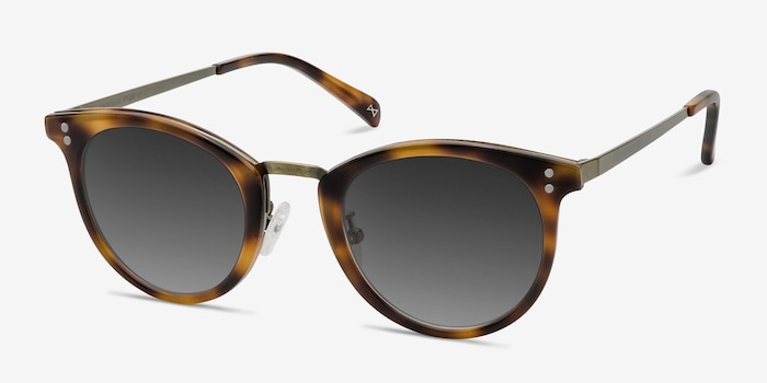 Sun Nostalgia Caramel Acetate-metal Sunglass Frames from EyeBuyDirect, Angle View