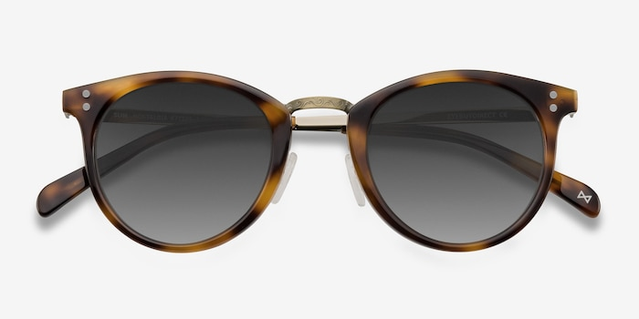 Sun Nostalgia Caramel Acetate-metal Sunglass Frames from EyeBuyDirect, Closed View