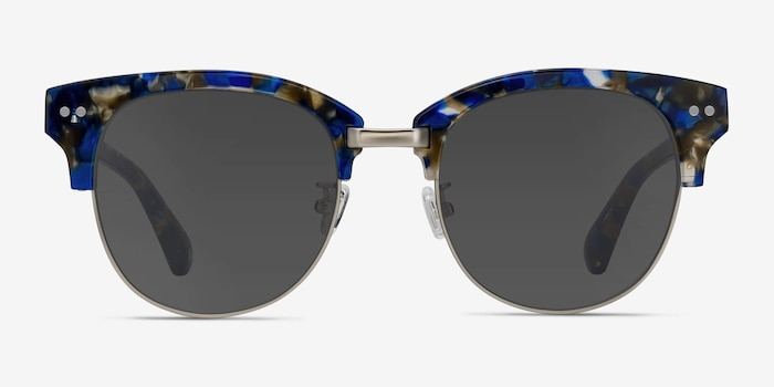 Swift Blue Mosaic Acetate Sunglass Frames from EyeBuyDirect, Front View