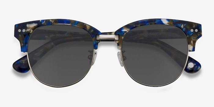 Swift Blue Mosaic Acetate Sunglass Frames from EyeBuyDirect, Closed View
