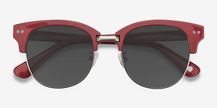 Swift Red Acetate Sunglass Frames from EyeBuyDirect, Closed View