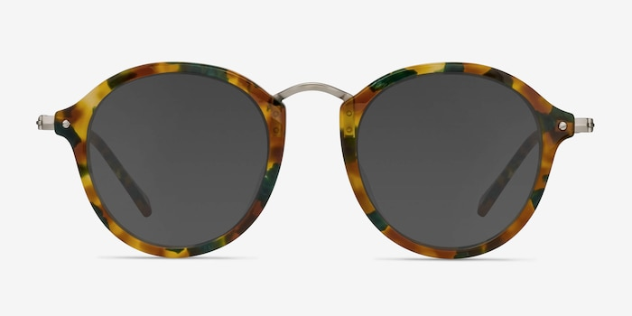 Atmos Green Floral Acetate Sunglass Frames from EyeBuyDirect, Front View