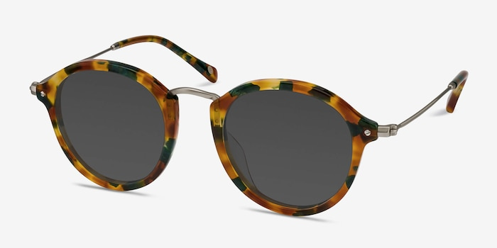 Atmos Green Floral Acetate Sunglass Frames from EyeBuyDirect, Angle View