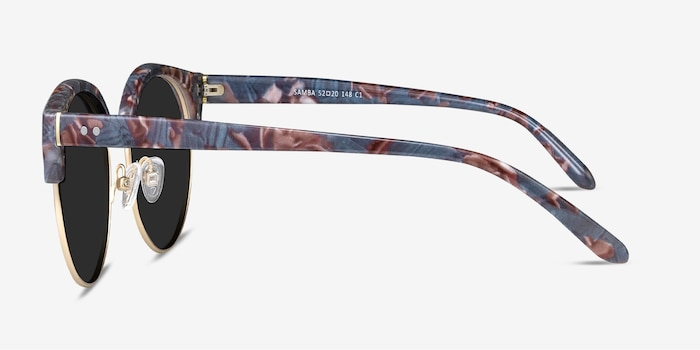 Samba Floral Gold Metal Sunglass Frames from EyeBuyDirect, Side View