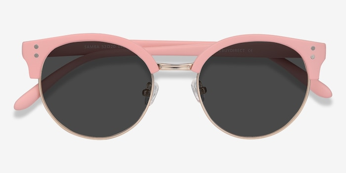 Samba Pink Metal Sunglass Frames from EyeBuyDirect, Closed View