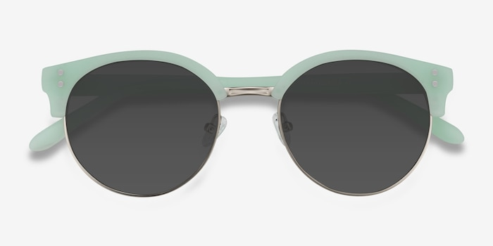 Samba Mint Frost Metal Sunglass Frames from EyeBuyDirect, Closed View