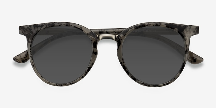 Lulu Gray Floral Metal Sunglass Frames from EyeBuyDirect, Closed View