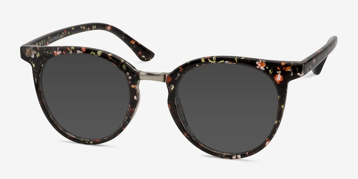Lulu Floral Metal Sunglass Frames from EyeBuyDirect, Angle View