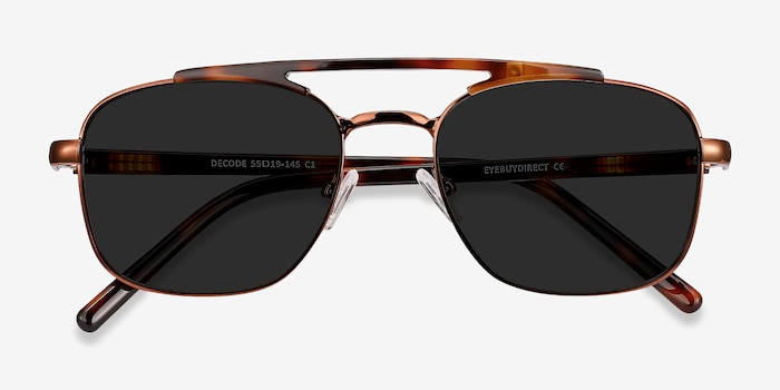 Decode Tortoise Brown Acetate Sunglass Frames from EyeBuyDirect, Closed View