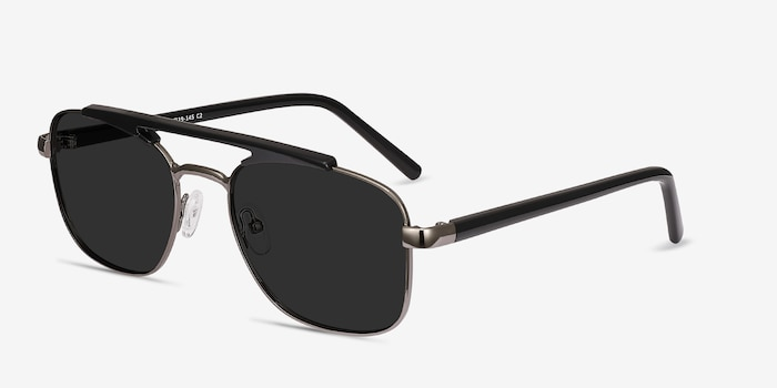 Decode Black Gunmetal Acetate Sunglass Frames from EyeBuyDirect, Angle View