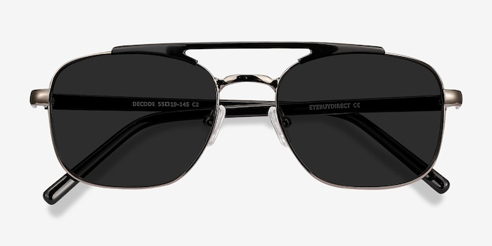 Decode Black Gunmetal Acetate Sunglass Frames from EyeBuyDirect, Closed View