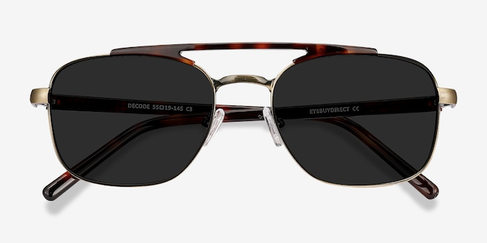 Decode Tortoise Bronze Acetate Sunglass Frames from EyeBuyDirect, Closed View