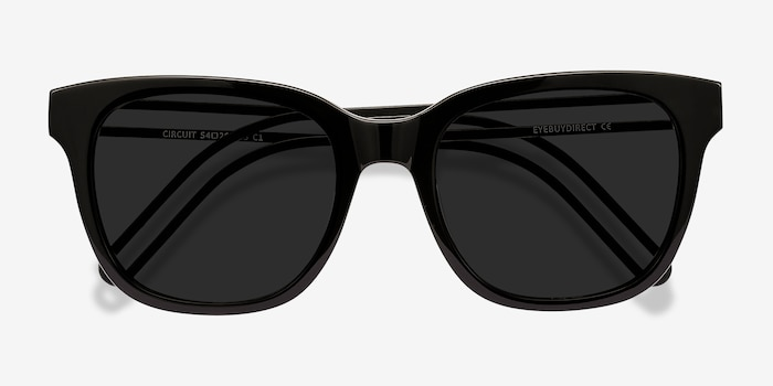 Circuit Black Acetate Sunglass Frames from EyeBuyDirect, Closed View