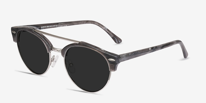 Sands Gray Metal Sunglass Frames from EyeBuyDirect, Angle View