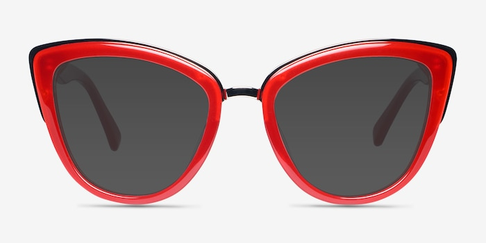 Cadenza Red Metal Sunglass Frames from EyeBuyDirect, Front View