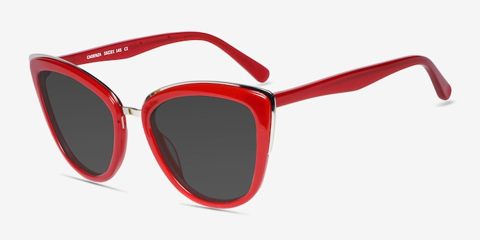 Cadenza Red Acetate Sunglass Frames from EyeBuyDirect, Angle View