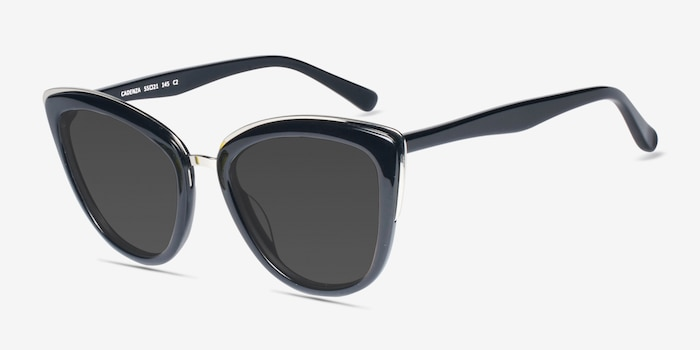 Cadenza Black Acetate Sunglass Frames from EyeBuyDirect, Angle View