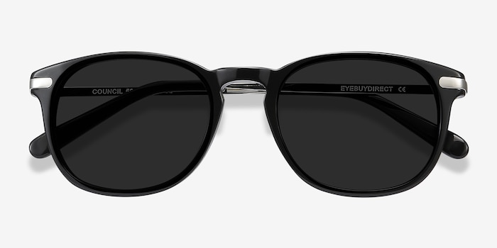 Council Black Acetate Sunglass Frames from EyeBuyDirect, Closed View