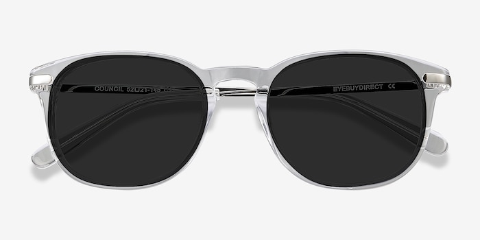 Council Clear Acetate-metal Sunglass Frames from EyeBuyDirect, Closed View