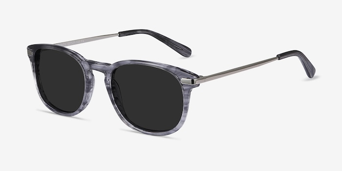 Council Gray Striped Metal Sunglass Frames from EyeBuyDirect, Angle View