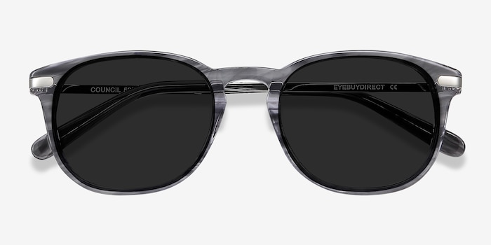 Council Gray Striped Acetate Sunglass Frames from EyeBuyDirect, Closed View