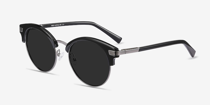 Kiri Black Metal Sunglass Frames from EyeBuyDirect, Angle View