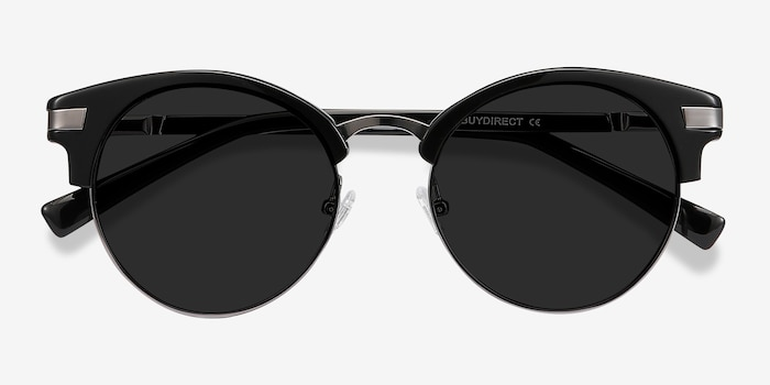 Kiri Black Metal Sunglass Frames from EyeBuyDirect, Closed View