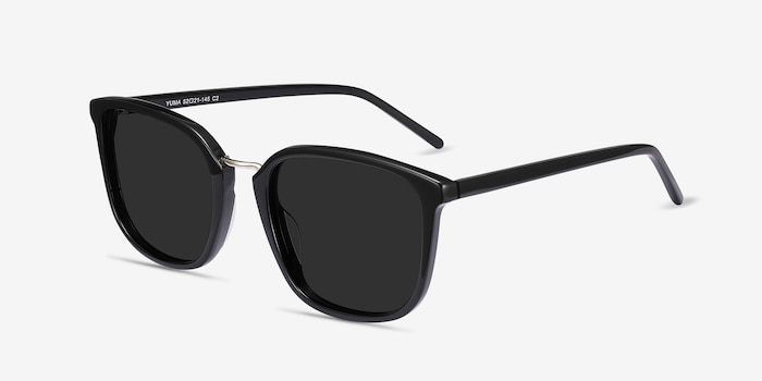 Yuma Black Acetate Sunglass Frames from EyeBuyDirect, Angle View