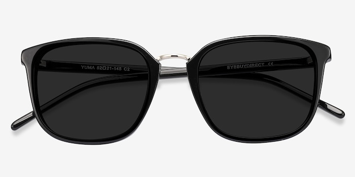 Yuma Black Acetate Sunglass Frames from EyeBuyDirect, Closed View
