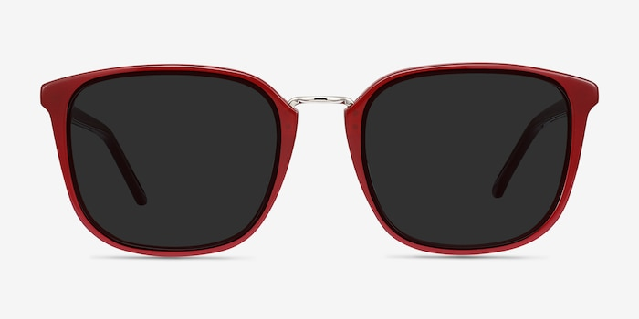 Yuma Red Metal Sunglass Frames from EyeBuyDirect, Front View
