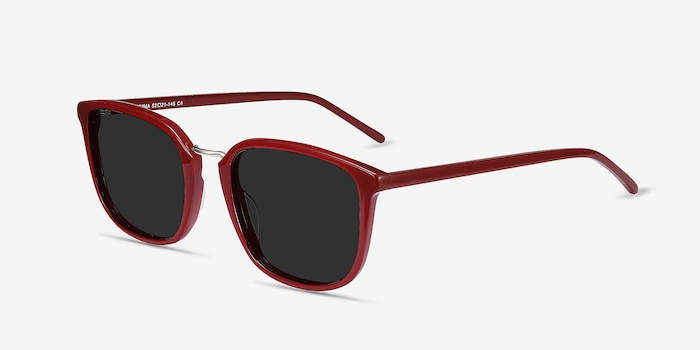 Yuma Red Metal Sunglass Frames from EyeBuyDirect, Angle View