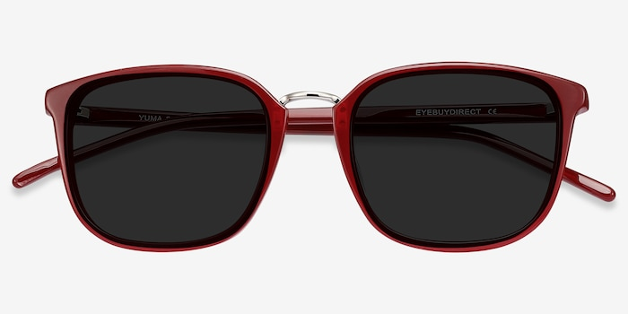 Yuma Red Metal Sunglass Frames from EyeBuyDirect, Closed View