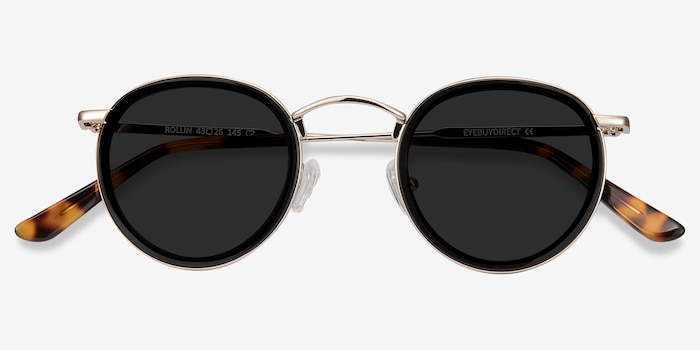 Rollin Black Acetate Sunglass Frames from EyeBuyDirect, Closed View