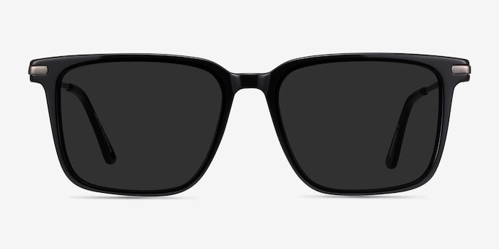 Griffith Black Acetate-metal Sunglass Frames from EyeBuyDirect, Front View