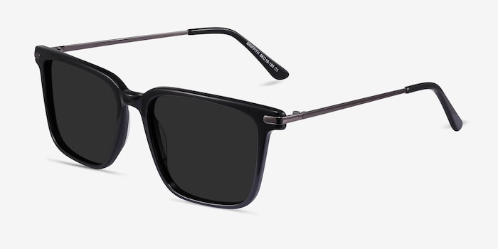 Griffith Black Metal Sunglass Frames from EyeBuyDirect, Angle View