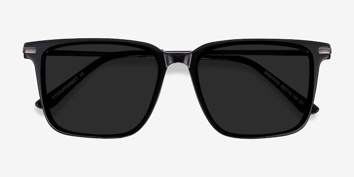 Griffith Black Acetate-metal Sunglass Frames from EyeBuyDirect, Closed View
