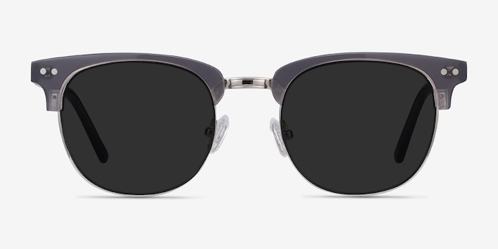 Sun Borderline Gray Acetate Sunglass Frames from EyeBuyDirect, Front View