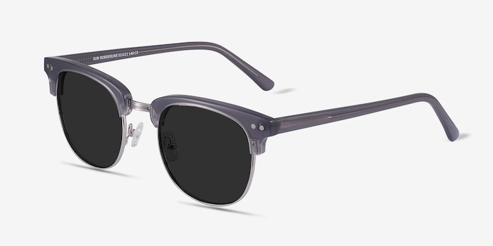 Sun Borderline Gray Metal Sunglass Frames from EyeBuyDirect, Angle View