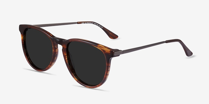Sun Ultraviolet Brown Striped Acetate Sunglass Frames from EyeBuyDirect, Angle View