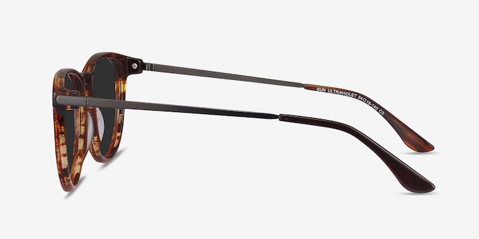 Sun Ultraviolet Brown Striped Acetate Sunglass Frames from EyeBuyDirect, Side View