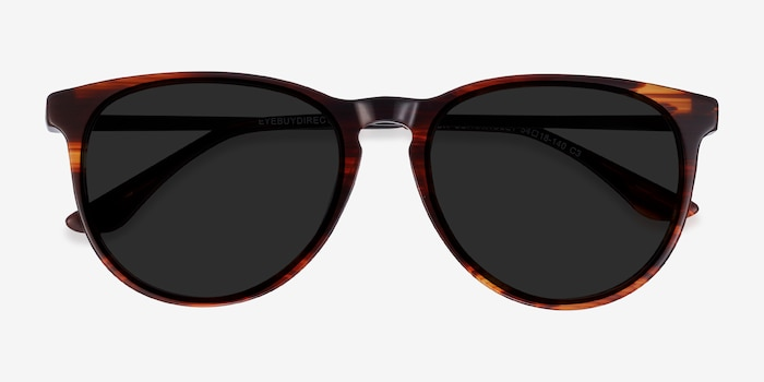 Sun Ultraviolet Brown Striped Acetate-metal Sunglass Frames from EyeBuyDirect, Closed View