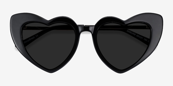 Darling Black Metal Sunglass Frames from EyeBuyDirect, Closed View