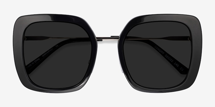 Canopy Black Acetate-metal Sunglass Frames from EyeBuyDirect, Closed View