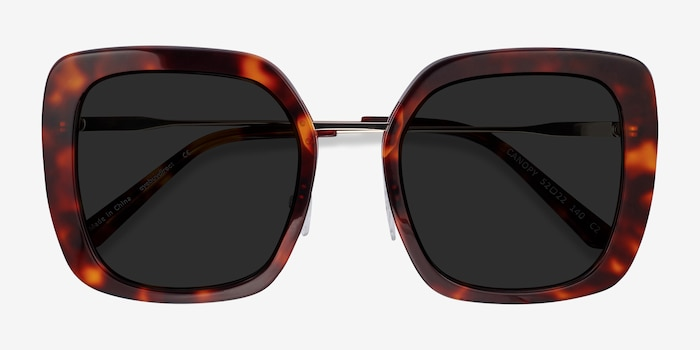 Canopy Tortoise Acetate-metal Sunglass Frames from EyeBuyDirect, Closed View