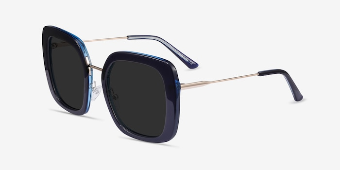Canopy Blue Acetate-metal Sunglass Frames from EyeBuyDirect, Angle View