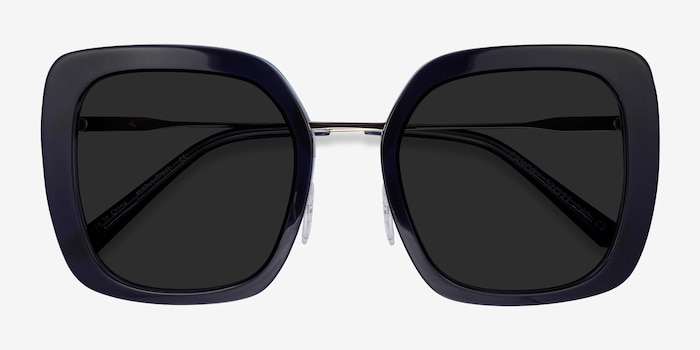 Canopy Blue Acetate-metal Sunglass Frames from EyeBuyDirect, Closed View