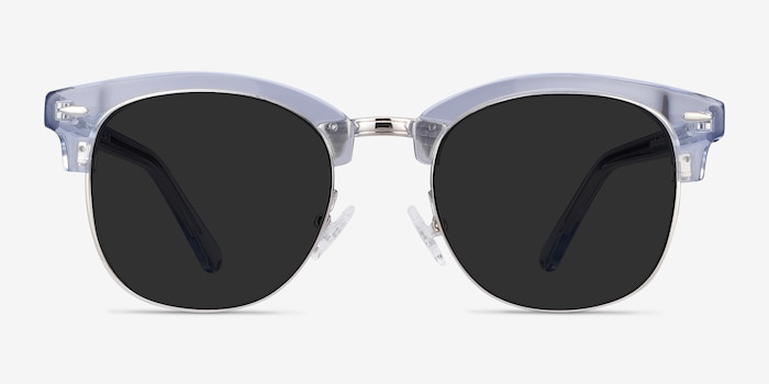 Strata Clear Blue Acetate Sunglass Frames from EyeBuyDirect, Front View